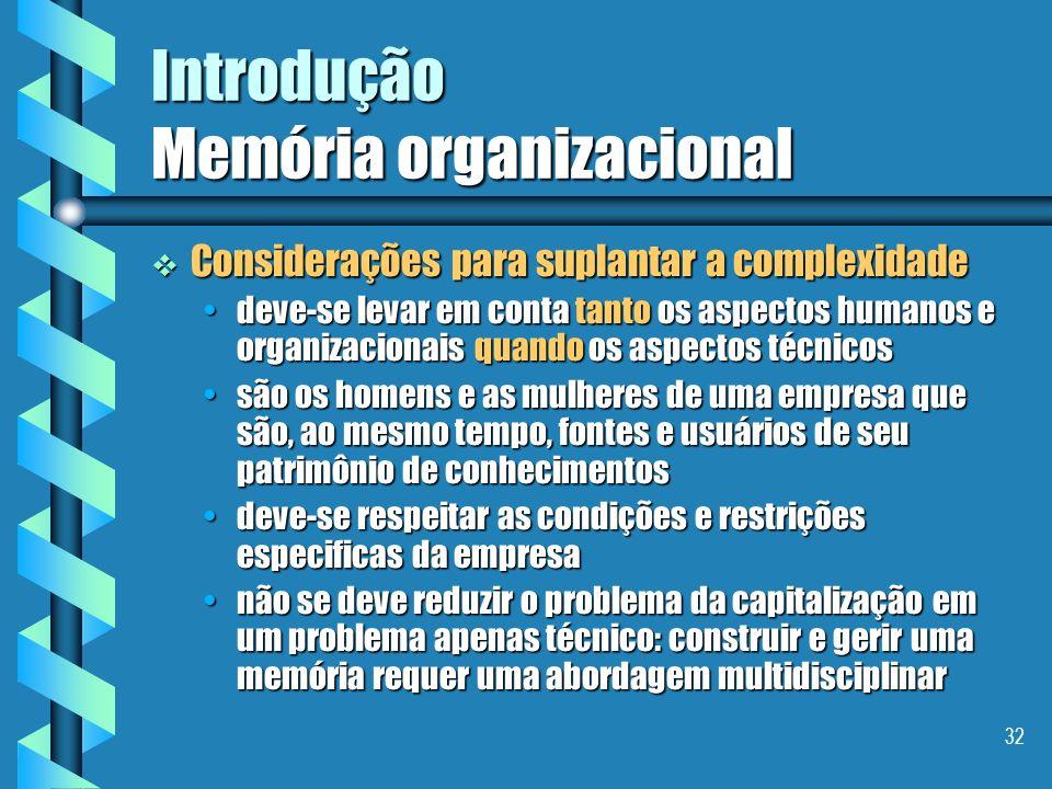 31 Introdução Memória organizacional Definição - Memória Organizacional Definição - Memória Organizacional É uma representação persistente, explicita,