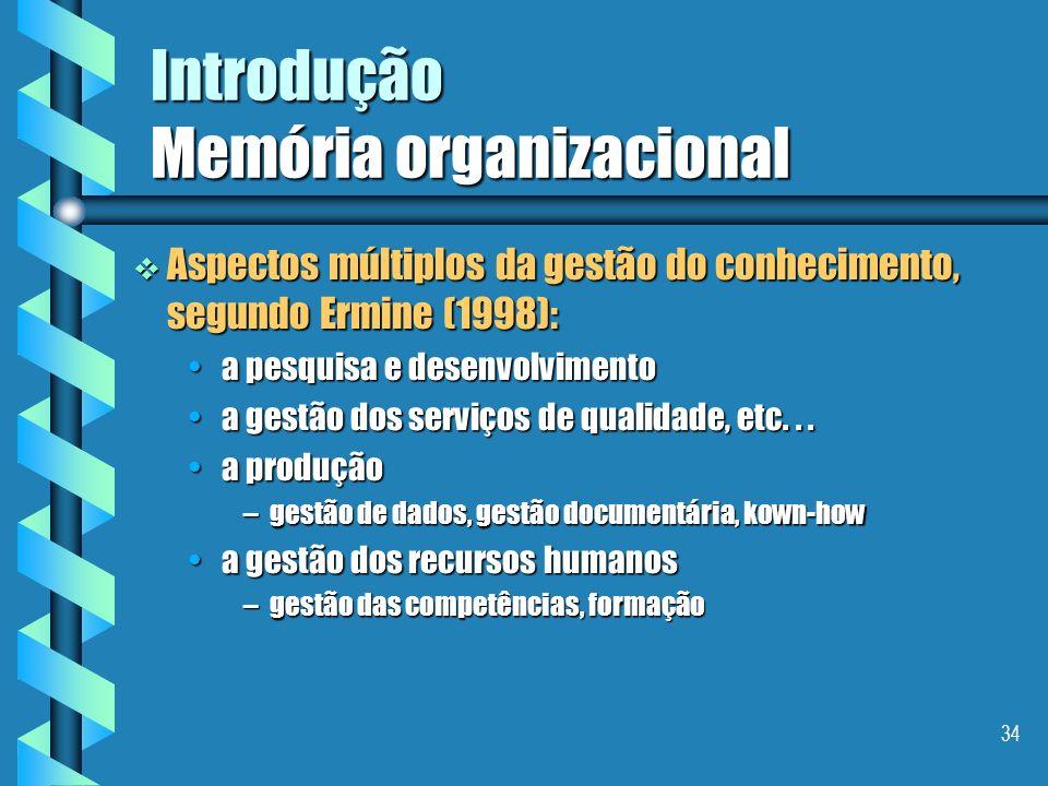33 Introdução Memória organizacional Necessidades/motivações industrias evitar a perda do saber-fazer/know-how de um especialista após sua aposentador
