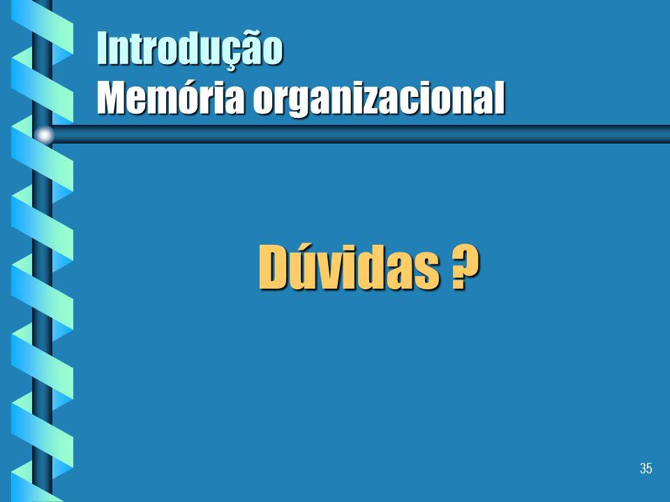 34 Introdução Memória organizacional Aspectos múltiplos da gestão do conhecimento, segundo Ermine (1998): Aspectos múltiplos da gestão do conhecimento