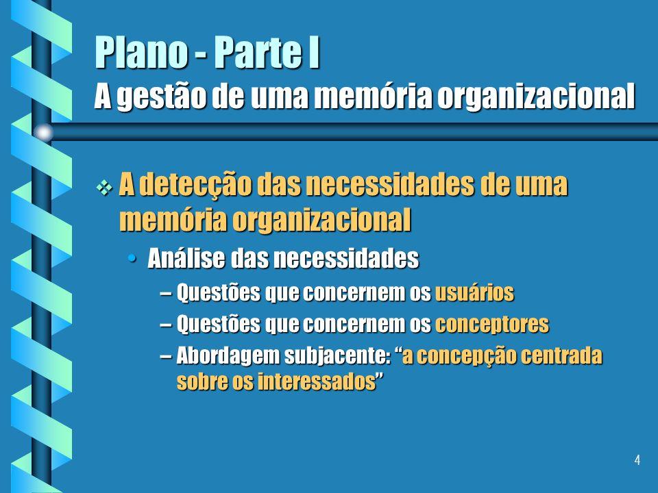 4 Plano - Parte I A gestão de uma memória organizacional A detecção das necessidades de uma memória organizacional A detecção das necessidades de uma memória organizacional Análise das necessidadesAnálise das necessidades –Questões que concernem os usuários –Questões que concernem os conceptores –Abordagem subjacente: a concepção centrada sobre os interessados