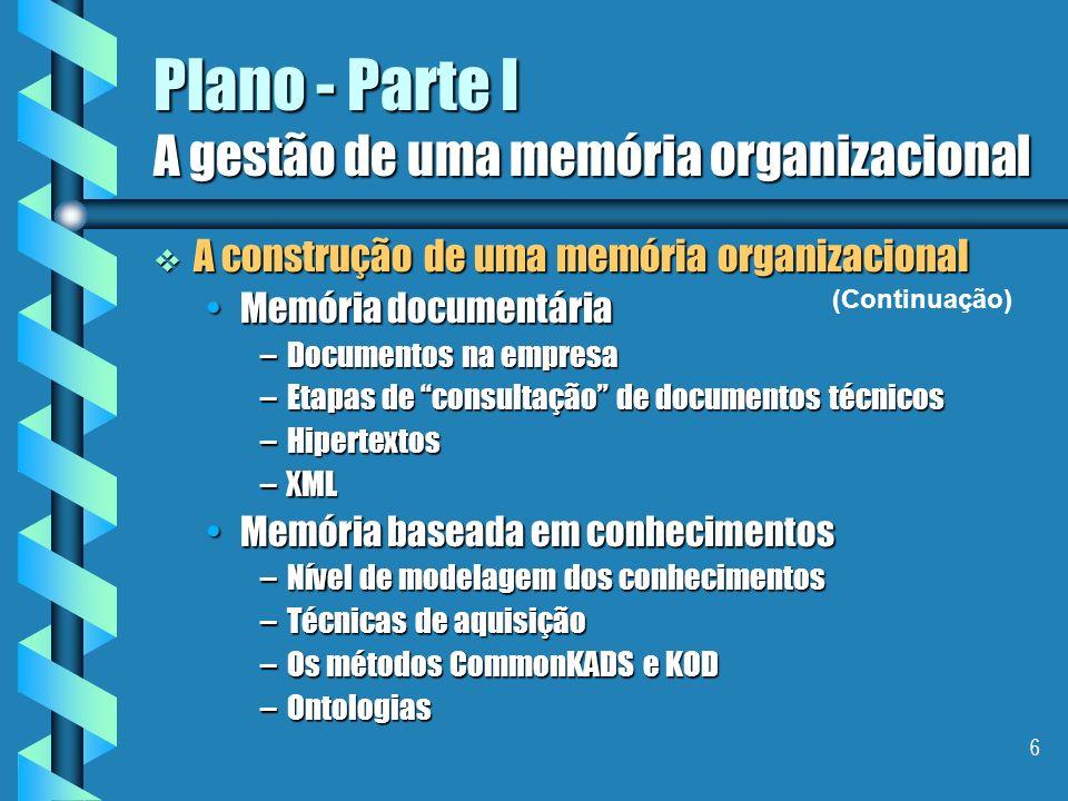6 Plano - Parte I A gestão de uma memória organizacional A construção de uma memória organizacional A construção de uma memória organizacional Memória documentáriaMemória documentária –Documentos na empresa –Etapas de consultação de documentos técnicos –Hipertextos –XML Memória baseada em conhecimentosMemória baseada em conhecimentos –Nível de modelagem dos conhecimentos –Técnicas de aquisição –Os métodos CommonKADS e KOD –Ontologias (Continuação)