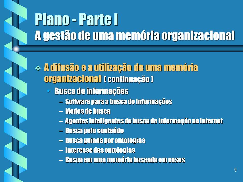 9 Plano - Parte I A gestão de uma memória organizacional A difusão e a utilização de uma memória organizacional ( continuação ) A difusão e a utilização de uma memória organizacional ( continuação ) Busca de informaçõesBusca de informações –Software para a busca de informações –Modos de busca –Agentes inteligentes de busca de informação na Internet –Busca pelo conteúdo –Busca guiada por ontologias –Interesse das ontologias –Busca em uma memória baseada em casos