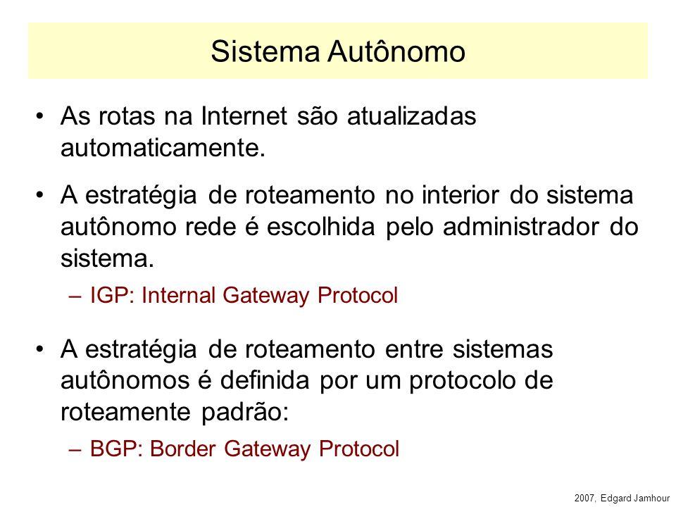 2007, Edgard Jamhour Roteadores na Internet Os roteadores da Internet são de dois tipos: Exterior Gateways –Troca informações com roteadores pertencentes a outros AS.