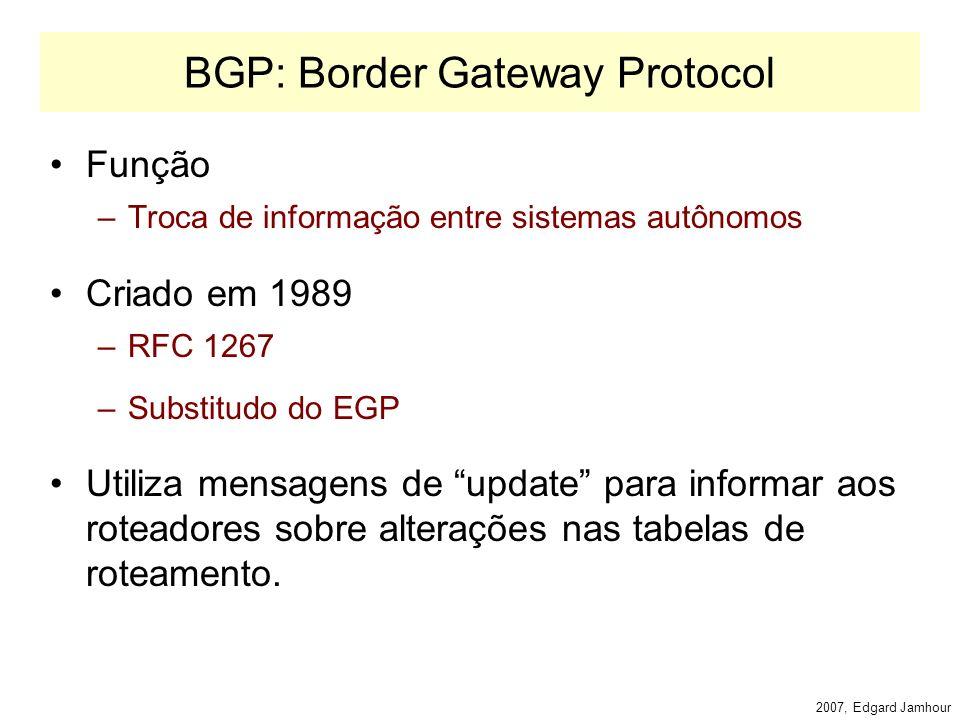 2007, Edgard Jamhour Correção de Rotas Tabelas de roteamento são alteradas nos gateways quando uma mensagem indica que: –Uma nova rede foi encontrada.