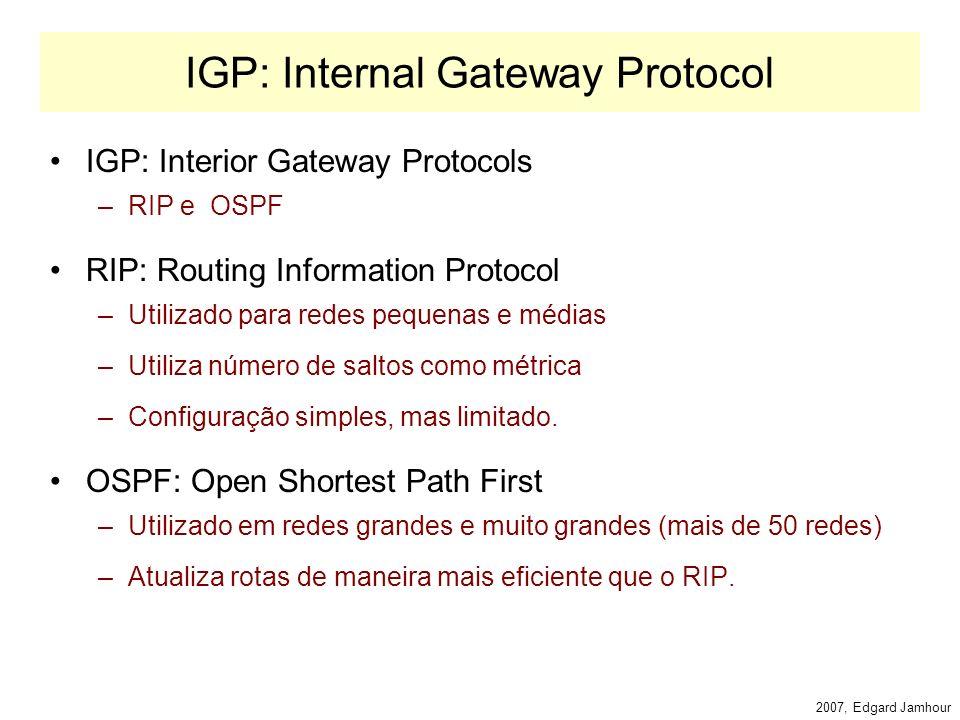 2007, Edgard Jamhour BGP AB C D E FG H I SISTEMA AUTÔNOMO 1 SISTEMA AUTÔNOMO 2 SISTEMA AUTÔNOMO 3 BGP Speaker SISTEMA AUTÔNOMO 4 PROPAGAÇÃO DAS ALTERAÇÕES Mensagem de UPDATE