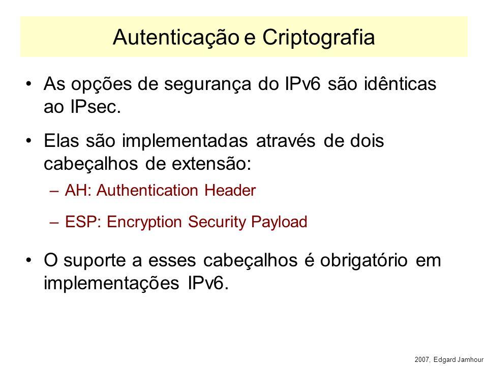 2007, Edgard Jamhour Fragmentation Header A fragmentação no IPv6 funciona de maneira similar ao IPv4.