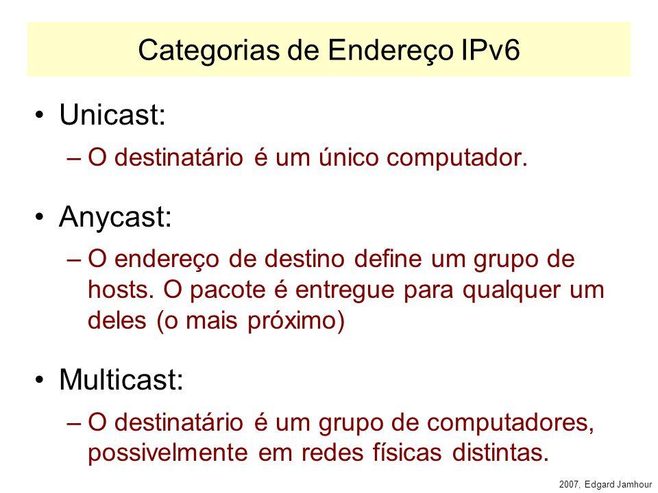 2007, Edgard Jamhour Endereços IPv6 Definido pela RFC 2373 –IPv6 Addressing Architecture Exemplo de Endereço IPv6: –FE80:0000:0000:0000:68DA:8909:3A22:FECA endereço normal –FE80:0:0:0:68DA:8909:3A22:FECA simplificação de zeros –FE80 ::68DA:8909:3A22:FECA omissão de 0s por :: (apenas um :: por endereço) –47::47:192:4:5 notação decimal pontuada –::192:31:20:46 endereço IPv4 (0:0:0:0:0:0:0:0:192:31:20:46)
