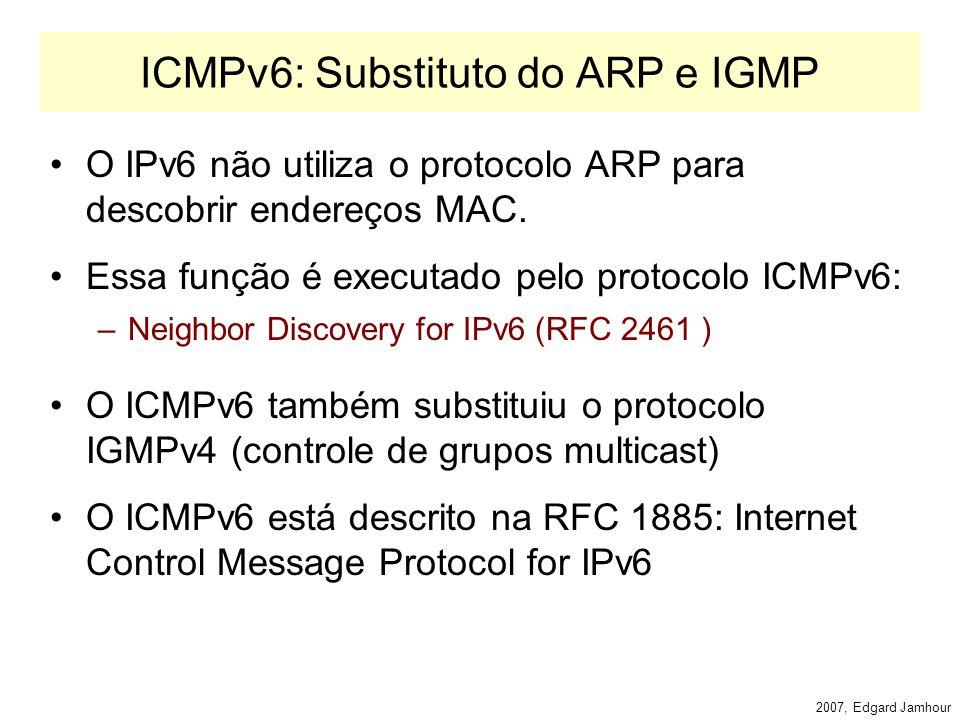 2007, Edgard Jamhour Endereços Multicast Especiais RFC 2375 –FF01::1: todas as interfaces do nó (host) –FF02::1: todos os nós do enlace (rede local) –FF01::2 todos os roteadores locais ao nó –FF05::2 todos os roteadores do site –FF02::B agentes móveis locais ao enlace –FF02::1:2 agentes DHCP do enlace –FF05::1:3 servidores DHCP do site –FF02::1::FFxx:xxxx endereço de nó solicitado (formado com os 24 bits de endereço unicast do host).