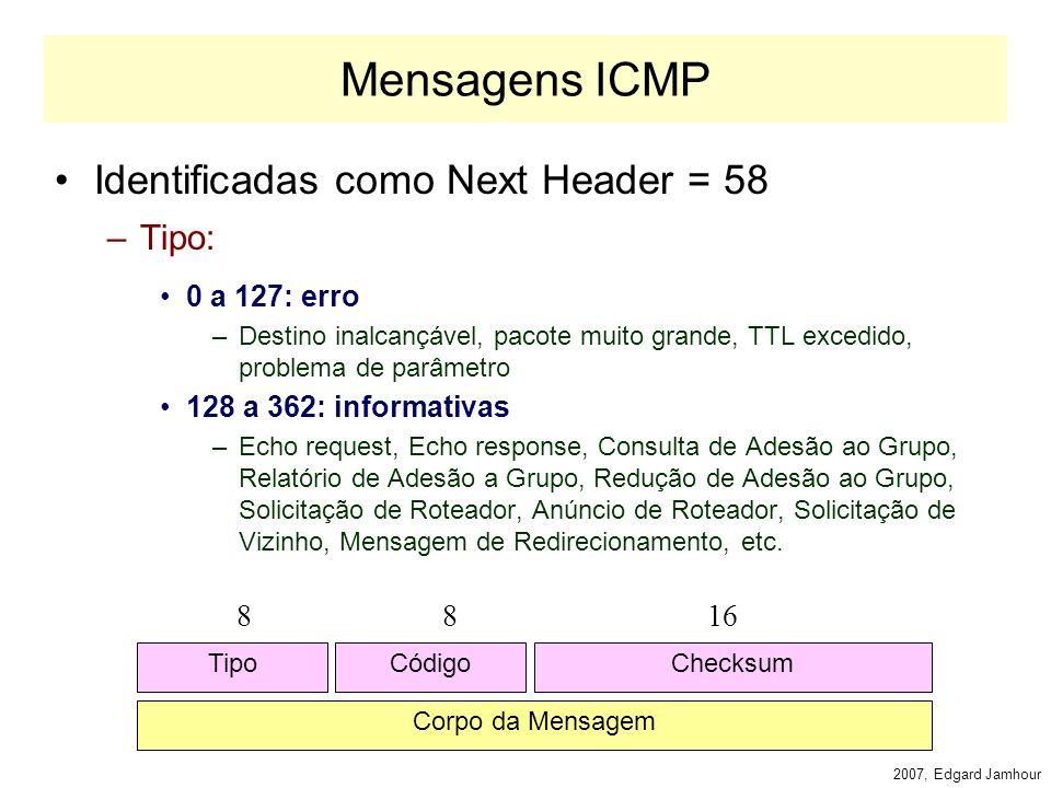 2007, Edgard Jamhour ICMPv6: Substituto do ARP e IGMP O IPv6 não utiliza o protocolo ARP para descobrir endereços MAC.