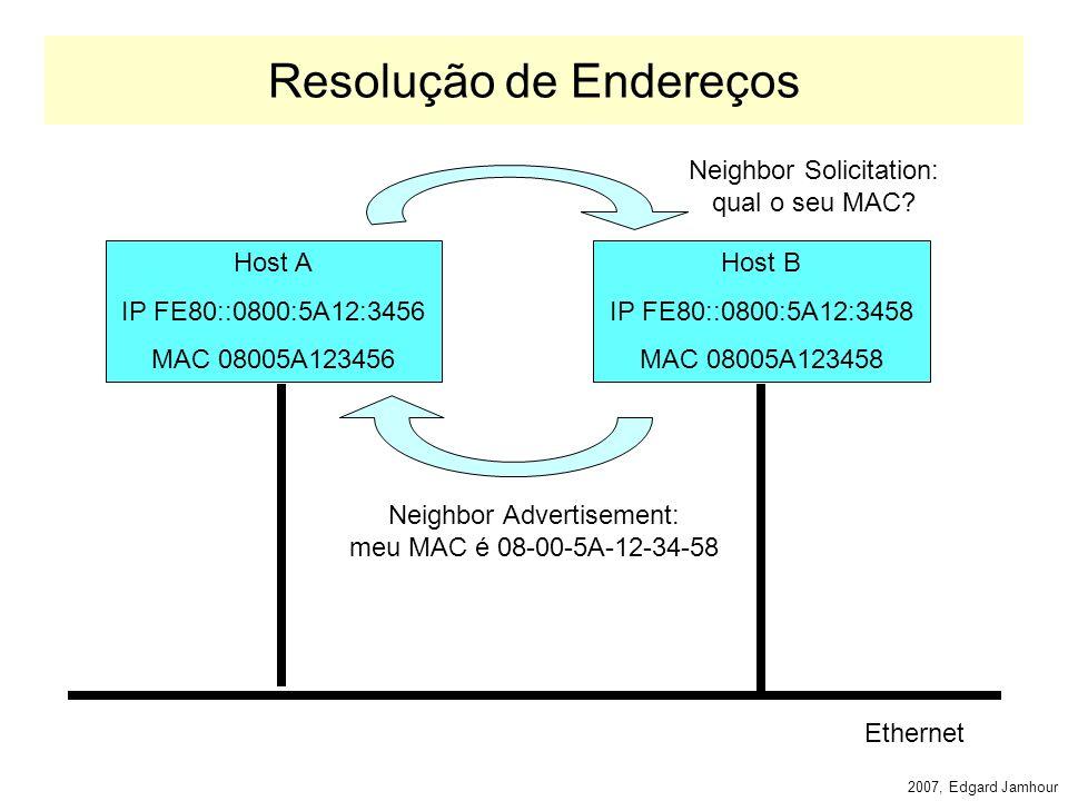 2007, Edgard Jamhour Mensagens ICMP Identificadas como Next Header = 58 –Tipo: 0 a 127: erro –Destino inalcançável, pacote muito grande, TTL excedido, problema de parâmetro 128 a 362: informativas –Echo request, Echo response, Consulta de Adesão ao Grupo, Relatório de Adesão a Grupo, Redução de Adesão ao Grupo, Solicitação de Roteador, Anúncio de Roteador, Solicitação de Vizinho, Mensagem de Redirecionamento, etc.