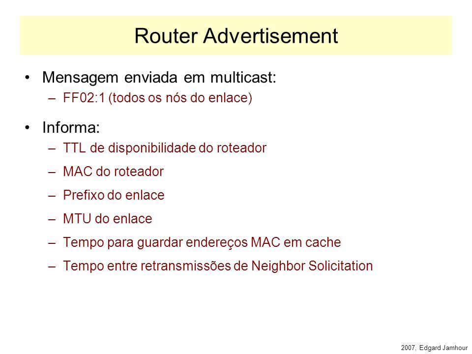 2007, Edgard Jamhour Router Advertisement Os roteadores enviam periodicamente mensagens ICMP denominadas Router Advertisements Essas mensagens permitem: –Anunciar o Prefixo da Rede Hosts podem construir seu endereço IP a partir da mensagem –Anunciar o Roteador Default da Rede Hosts criam sua rota default a partir dessa mensagem