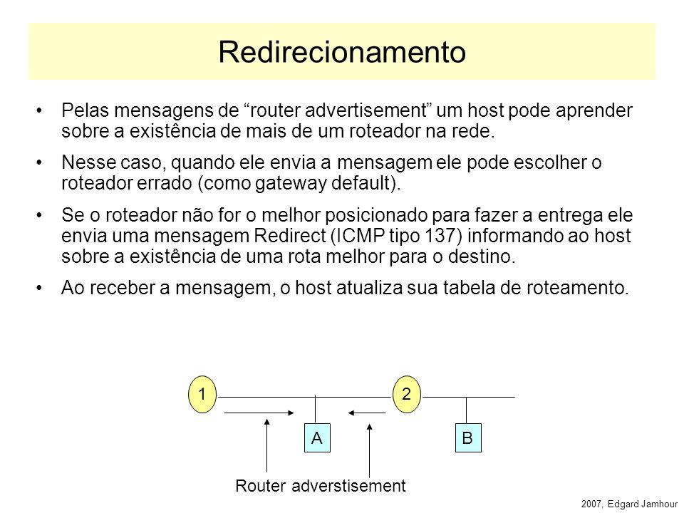 2007, Edgard Jamhour Router Solicitation Um host que queira descobrir um roteador acessível no enlace sem aguardar a próxima mensagem de router advertisement pode enviar uma mensagem de router solicitation.