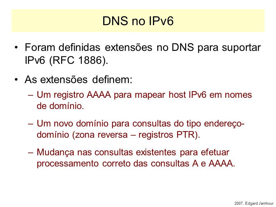 2007, Edgard Jamhour Autoconfiguração de IP Uma mensagem de router advertisement pode passar as seguintes instruções para o Host: –O nó deve solicitar seu endereço via DHCP –O nó deve obter também as demais informações de configuração de rede via DHCP (dns, gateway default, etc).