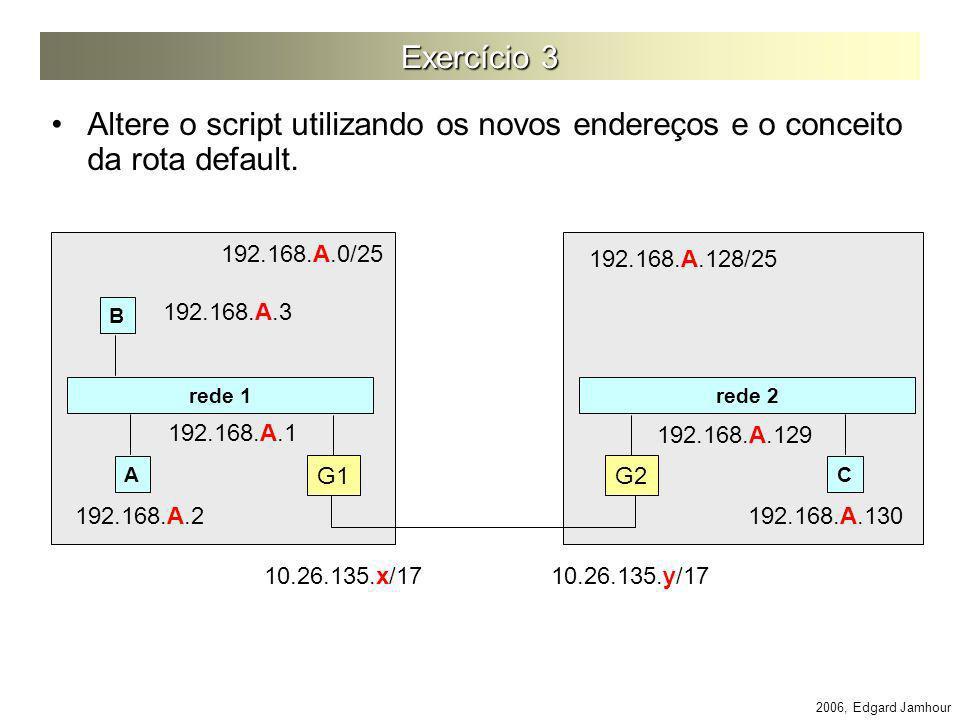 2006, Edgard Jamhour Exercício 3 Altere o script utilizando os novos endereços e o conceito da rota default. rede 1 rede 2 G1 G2 AC 192.168.A.0/25 192