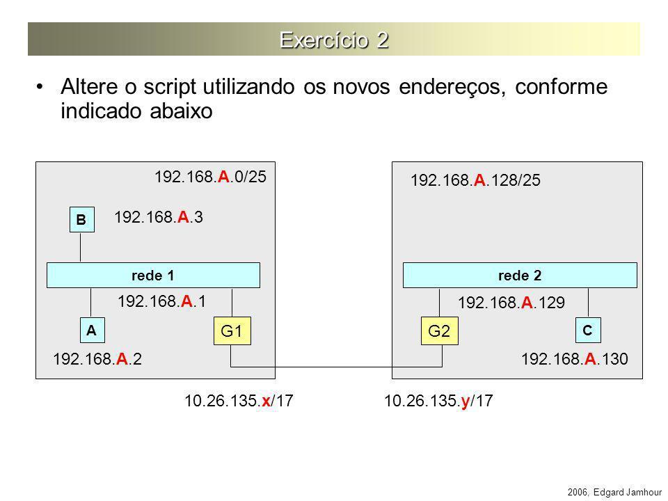 2006, Edgard Jamhour Exercício 2 Altere o script utilizando os novos endereços, conforme indicado abaixo rede 1 rede 2 G1 G2 AC 192.168.A.0/25 192.168