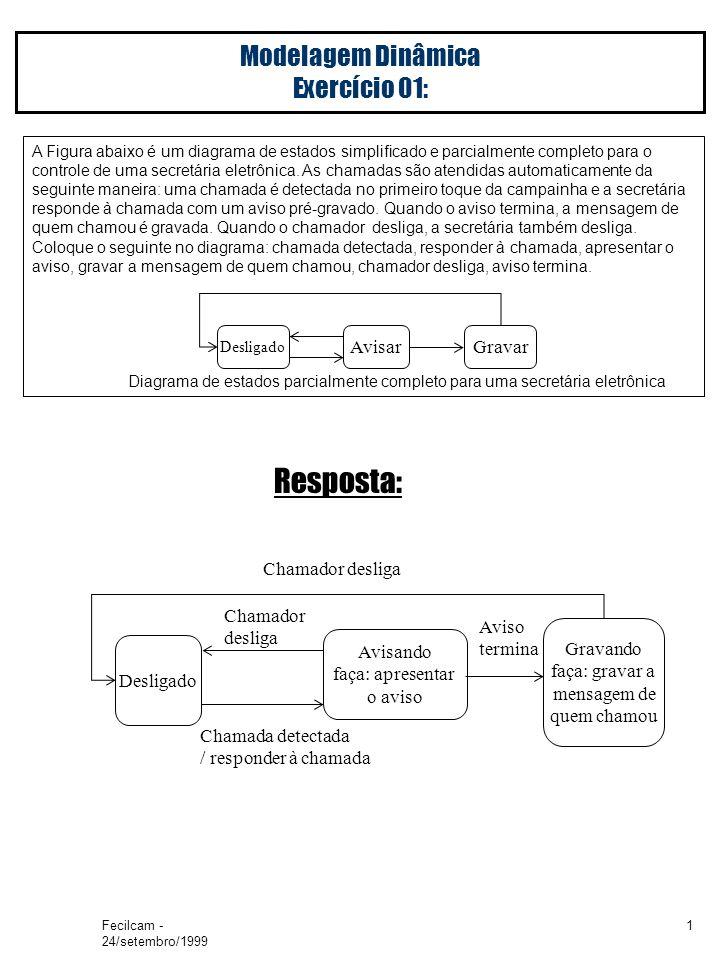 Fecilcam - 24/setembro/1999 1 Modelagem Dinâmica Exercício 01: A Figura abaixo é um diagrama de estados simplificado e parcialmente completo para o controle de uma secretária eletrônica.