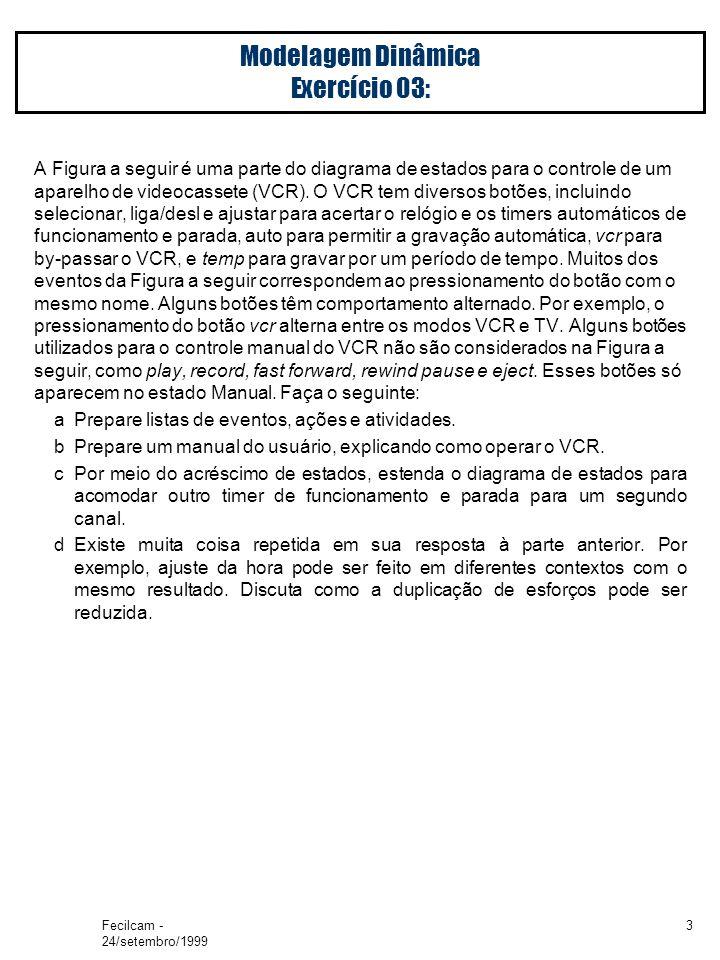 Fecilcam - 24/setembro/1999 3 Modelagem Dinâmica Exercício 03: A Figura a seguir é uma parte do diagrama de estados para o controle de um aparelho de videocassete (VCR).