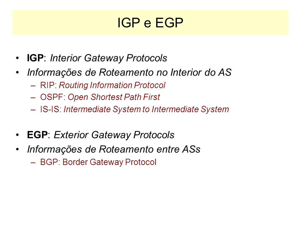 EGP e IGP AB C D E FG I J H EGP IGP SISTEMA AUTÔNOMO 1 SISTEMA AUTÔNOMO 2 IGP Conhece todas as rotas da Internet Conhece apenas as rotas no interior do AS I E 216.1.2.0/24 220.2.1.0/24AS: 220.2.0.0/16 AS: 216.1.2.0/16