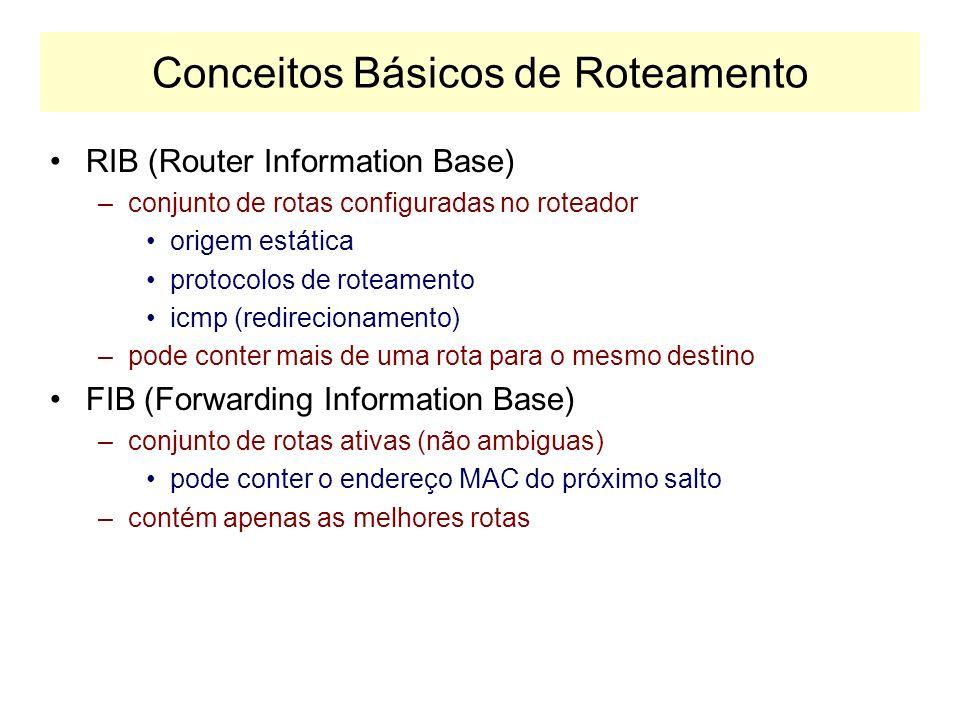 IGP e EGP IGP: Interior Gateway Protocols Informações de Roteamento no Interior do AS –RIP: Routing Information Protocol –OSPF: Open Shortest Path First –IS-IS: Intermediate System to Intermediate System EGP: Exterior Gateway Protocols Informações de Roteamento entre ASs –BGP: Border Gateway Protocol