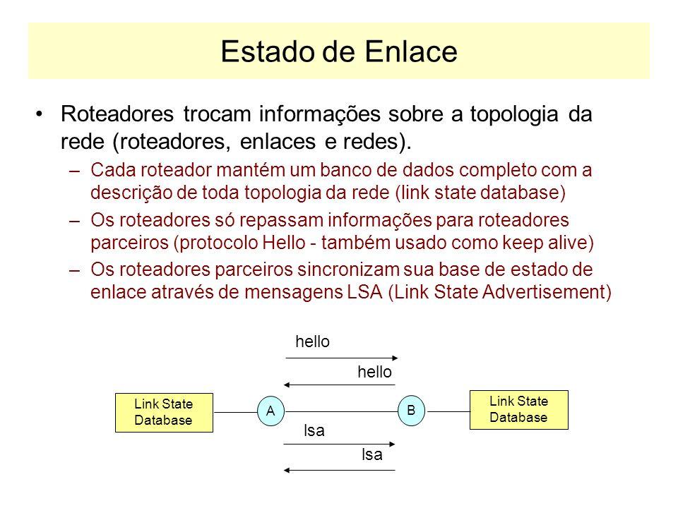 Atualizações de Rota Por re-anuncio e temporização –As rotas tem um tempo de vida (TTL) –Os roteadores re-anunciam periodicamente suas rotas –Rotas cu