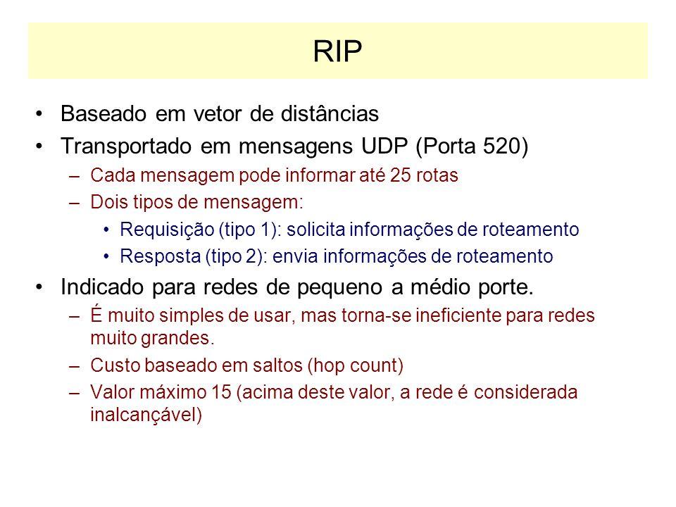 RIP: Routing Information Protocol Originário do conjunto XNS da Xerox Duas Versões –Versão 1: RFC 1058 mensagens em broadcast não suporta CIDR (Classless InterDomain Routing) –Versão 2: RFC 1723 mensagens em multicast suporta CIDR
