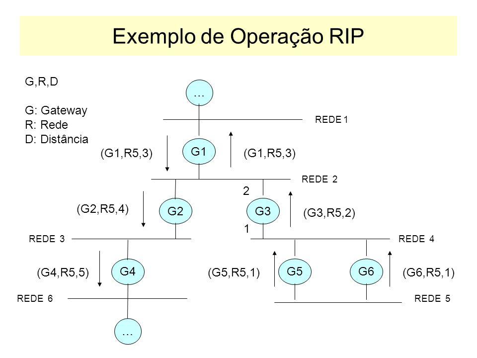 Elementos de uma rede RIP Ativos: envia e escuta mensagens RIP Passivos: apenas escuta mensagens RIP Rede 200.192.0.0/24 Rede 200.134.51.0/24 ATIVO Usualmente roteador PASSIVO Usualmente host