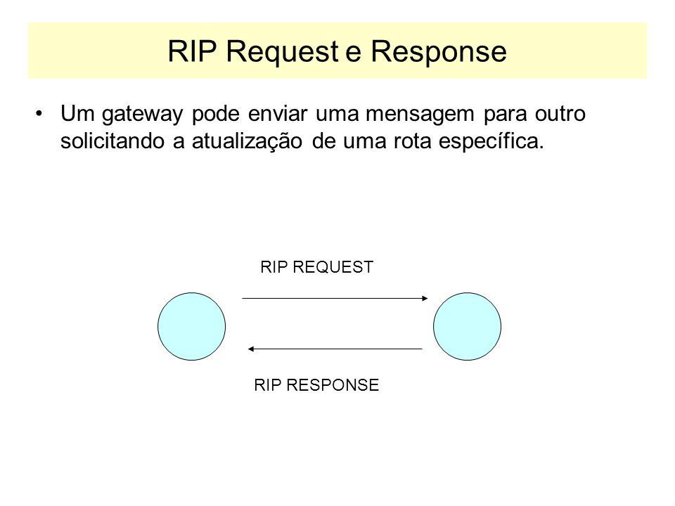 Timers para Rotas As mensagens de rotas (responses in RIP) são enviadas a cada 30 segundos.