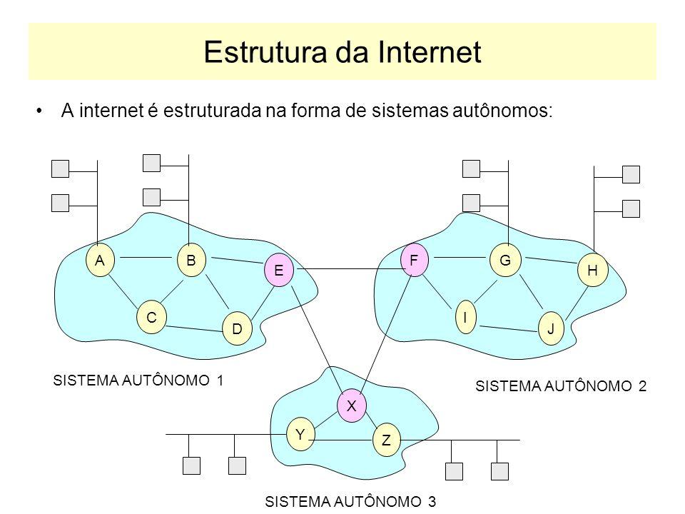 Algoritmos de Roteamento Algoritmo de Roteamento Global –tem conhecimento de toda estrutura da rede algoritmo de estado de enlace: LS (link-state) Algoritmo de Roteamento Decentralizado –nenhum nó tem informação completa da rede algoritmo de vetor de distâncias: DV (distance vector) 2 2 2 5 3 3 1 1