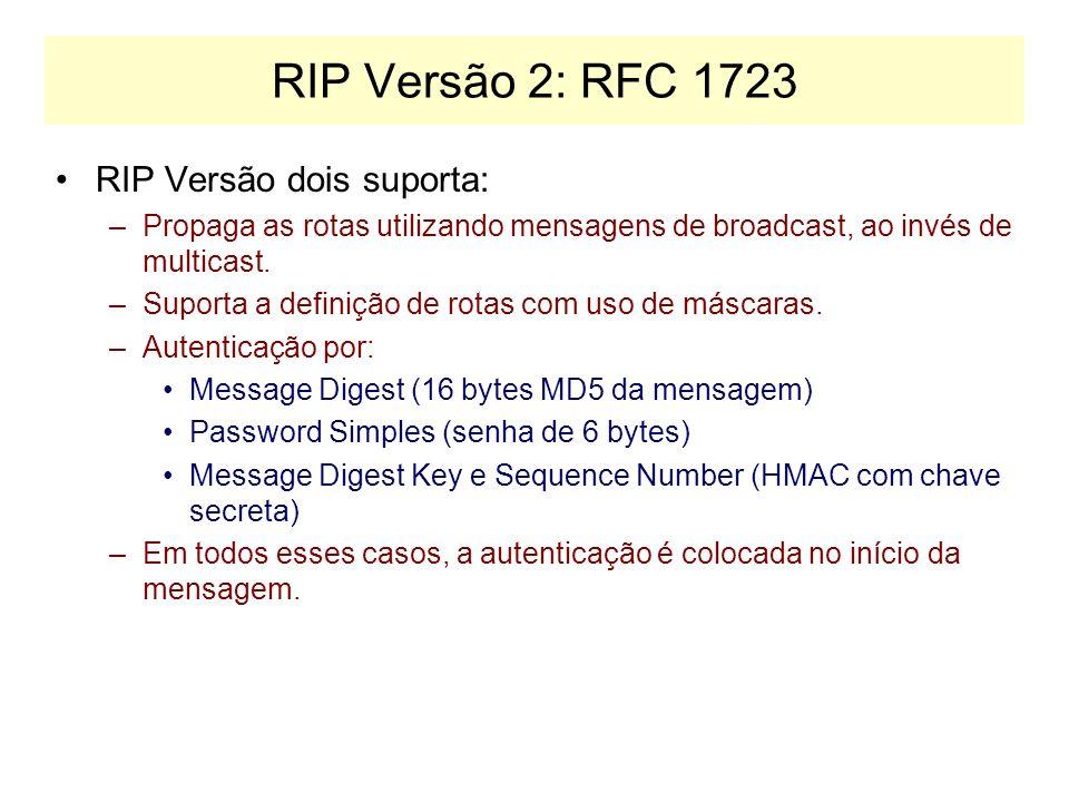 RIP Versão 1: RFC 1058 PROBLEMAS: –Não propaga máscaras (só permite definir rotas segundo as classes A, B e C).
