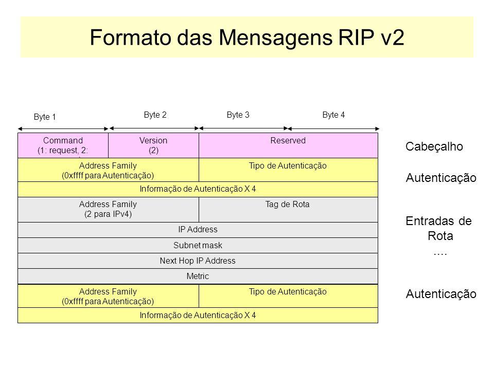 RIP Versão 2: RFC 1723 RIP Versão dois suporta: –Propaga as rotas utilizando mensagens de broadcast, ao invés de multicast. –Suporta a definição de ro