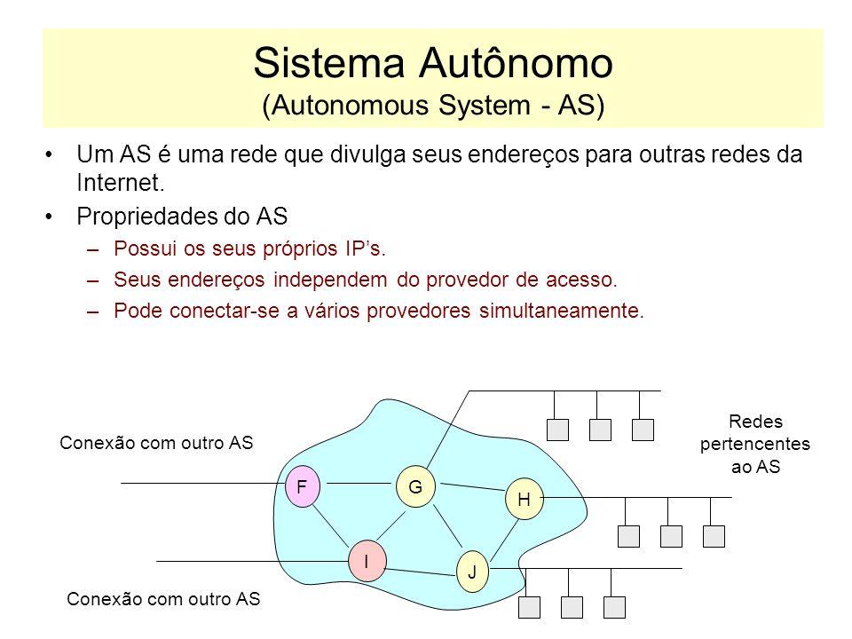 Estrutura da Internet A internet é estruturada na forma de sistemas autônomos: AB C D E FG I J H SISTEMA AUTÔNOMO 1 SISTEMA AUTÔNOMO 2 X Y Z SISTEMA A