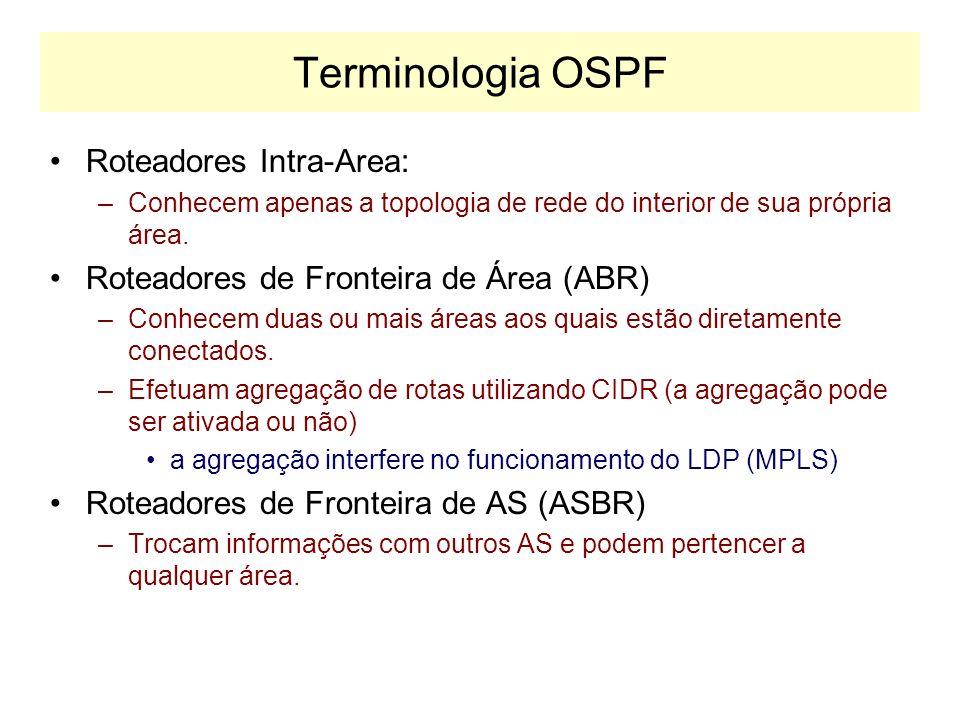 Terminologia OSPF R1 R5 R6 R0 N1 Area 0 Area 2 (Stub) Area 1 R3 BACKBONE OSPF Area 0.0.0.0 R7 R4 Fronteira de AS N2 N1 Roteador de Fronteira de Área (ABR) R2 Roteador de Fronteira de AS (ASBR) Rx Rede RIP LSA NSA R8 Area 3