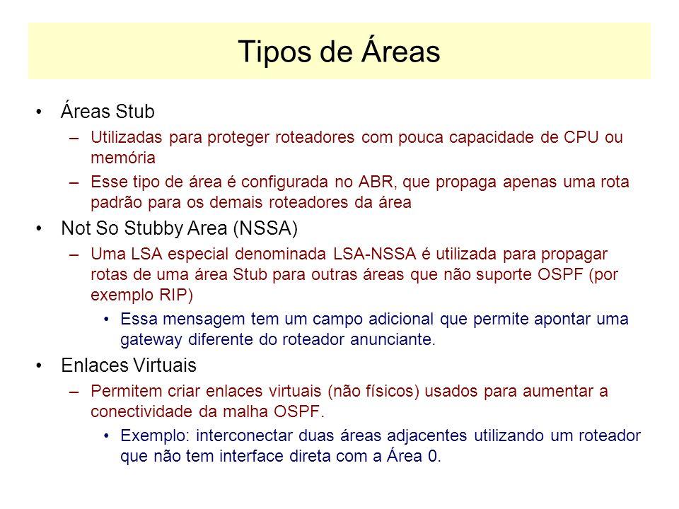 Tipos de Anúncio de Estado de Enlace No OSPF são utilizados 4 tipos de LSA: –Tipo 1: Router-Link Entry Anúncios de Enlaces de Roteador Produzidos por