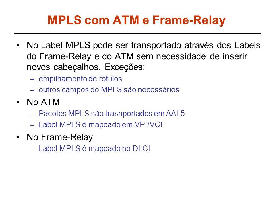 MPLS com ATM e Frame-Relay No Label MPLS pode ser transportado através dos Labels do Frame-Relay e do ATM sem necessidade de inserir novos cabeçalhos.