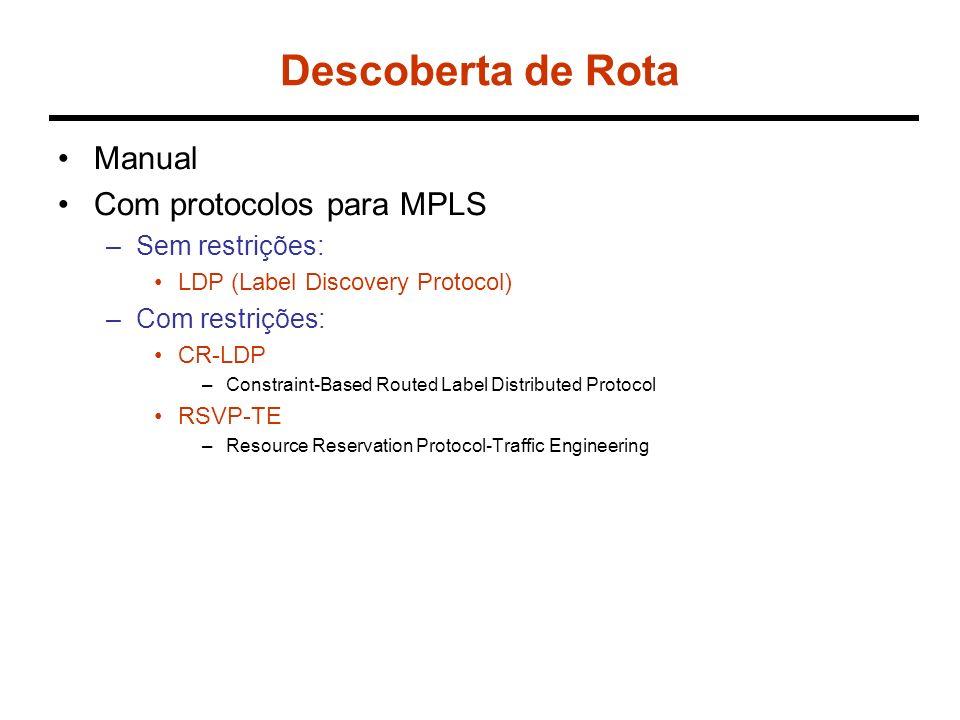 Descoberta de Rota Manual Com protocolos para MPLS –Sem restrições: LDP (Label Discovery Protocol) –Com restrições: CR-LDP –Constraint-Based Routed Label Distributed Protocol RSVP-TE –Resource Reservation Protocol-Traffic Engineering