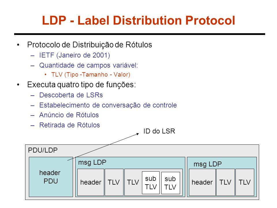 LDP - Label Distribution Protocol Protocolo de Distribuição de Rótulos –IETF (Janeiro de 2001) –Quantidade de campos variável: TLV (Tipo -Tamanho - Valor) Executa quatro tipo de funções: –Descoberta de LSRs –Estabelecimento de conversação de controle –Anúncio de Rótulos –Retirada de Rótulos PDU/LDP header PDU msg LDP headerTLV sub TLV sub TLV headerTLV ID do LSR