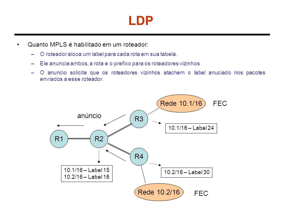 LDP Quanto MPLS é habilitado em um roteador: –O roteador aloca um label para cada rota em sua tabela. –Ele anuncia ambos, a rota e o prefixo para os r