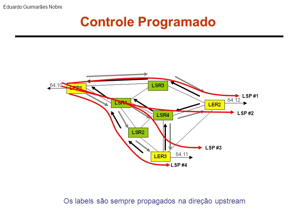 Controle Programado LSP #1 LSP #2 LSP #3 LSP #4 Eduardo Guimarães Nobre Os labels são sempre propagados na direção upstream