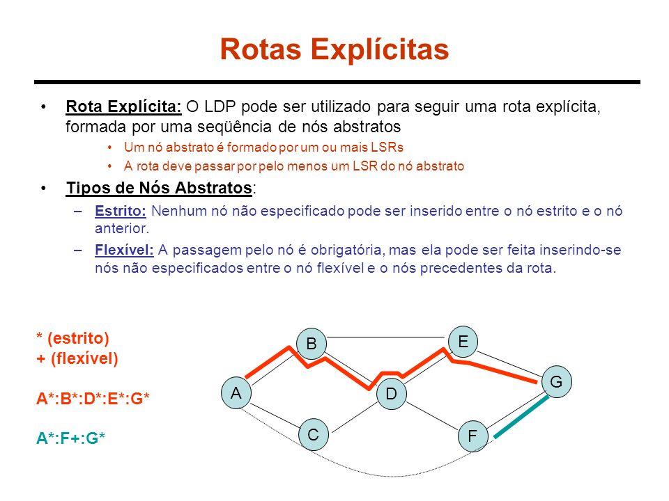 Rotas Explícitas Rota Explícita: O LDP pode ser utilizado para seguir uma rota explícita, formada por uma seqüência de nós abstratos Um nó abstrato é formado por um ou mais LSRs A rota deve passar por pelo menos um LSR do nó abstrato Tipos de Nós Abstratos: –Estrito: Nenhum nó não especificado pode ser inserido entre o nó estrito e o nó anterior.