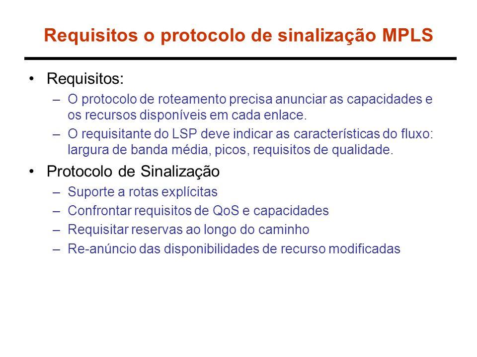 Requisitos o protocolo de sinalização MPLS Requisitos: –O protocolo de roteamento precisa anunciar as capacidades e os recursos disponíveis em cada enlace.