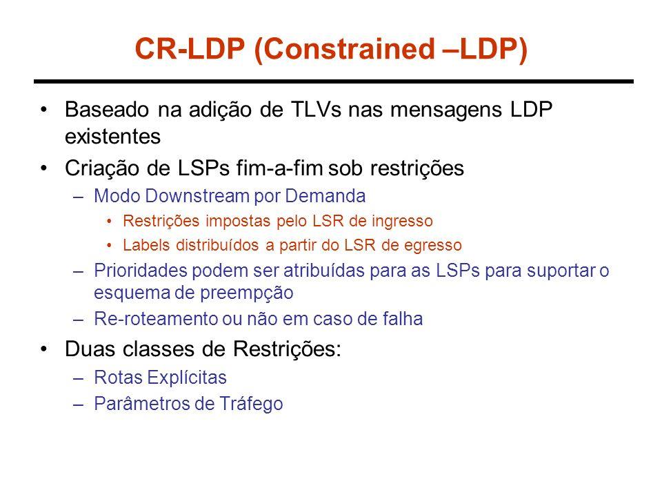 CR-LDP (Constrained –LDP) Baseado na adição de TLVs nas mensagens LDP existentes Criação de LSPs fim-a-fim sob restrições –Modo Downstream por Demanda Restrições impostas pelo LSR de ingresso Labels distribuídos a partir do LSR de egresso –Prioridades podem ser atribuídas para as LSPs para suportar o esquema de preempção –Re-roteamento ou não em caso de falha Duas classes de Restrições: –Rotas Explícitas –Parâmetros de Tráfego