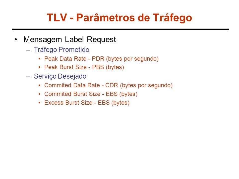TLV - Parâmetros de Tráfego Mensagem Label Request –Tráfego Prometido Peak Data Rate - PDR (bytes por segundo) Peak Burst Size - PBS (bytes) –Serviço Desejado Commited Data Rate - CDR (bytes por segundo) Commited Burst Size - EBS (bytes) Excess Burst Size - EBS (bytes)