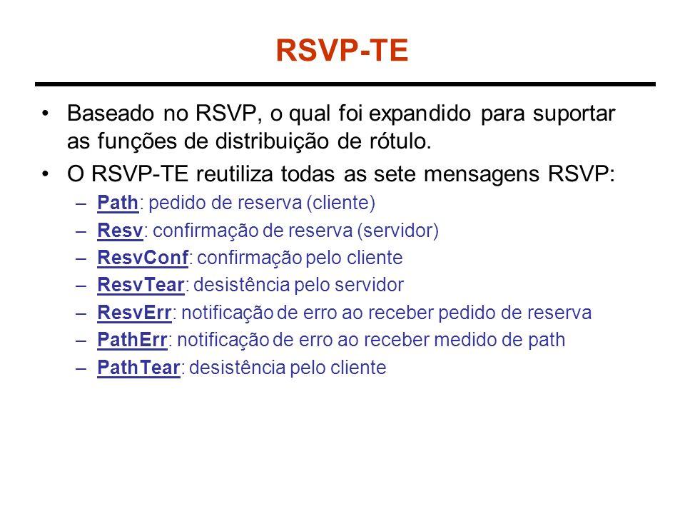 RSVP-TE Baseado no RSVP, o qual foi expandido para suportar as funções de distribuição de rótulo. O RSVP-TE reutiliza todas as sete mensagens RSVP: –P