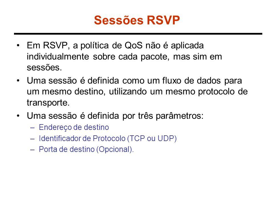 Sessões RSVP Em RSVP, a política de QoS não é aplicada individualmente sobre cada pacote, mas sim em sessões. Uma sessão é definida como um fluxo de d