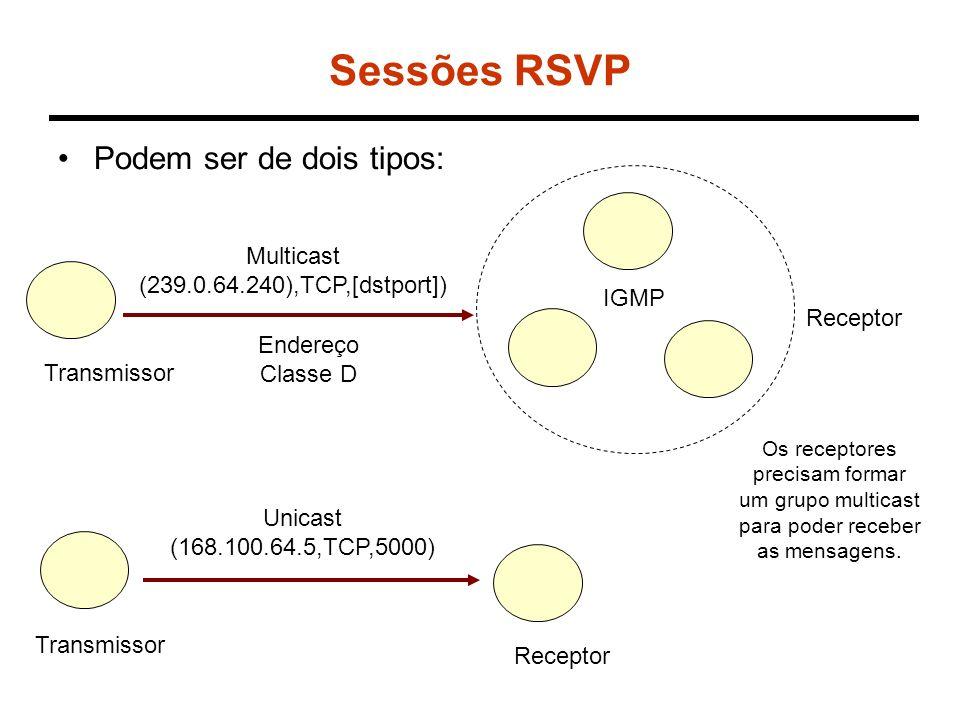 Sessões RSVP Podem ser de dois tipos: Multicast (239.0.64.240),TCP,[dstport]) Unicast (168.100.64.5,TCP,5000) IGMP Endereço Classe D Os receptores precisam formar um grupo multicast para poder receber as mensagens.