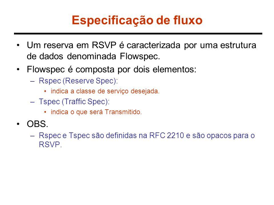 Especificação de fluxo Um reserva em RSVP é caracterizada por uma estrutura de dados denominada Flowspec. Flowspec é composta por dois elementos: –Rsp