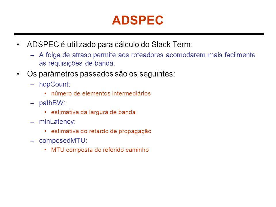 ADSPEC ADSPEC é utilizado para cálculo do Slack Term: –A folga de atraso permite aos roteadores acomodarem mais facilmente as requisições de banda.
