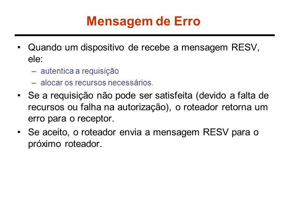Mensagem de Erro Quando um dispositivo de recebe a mensagem RESV, ele: –autentica a requisição –alocar os recursos necessários. Se a requisição não po