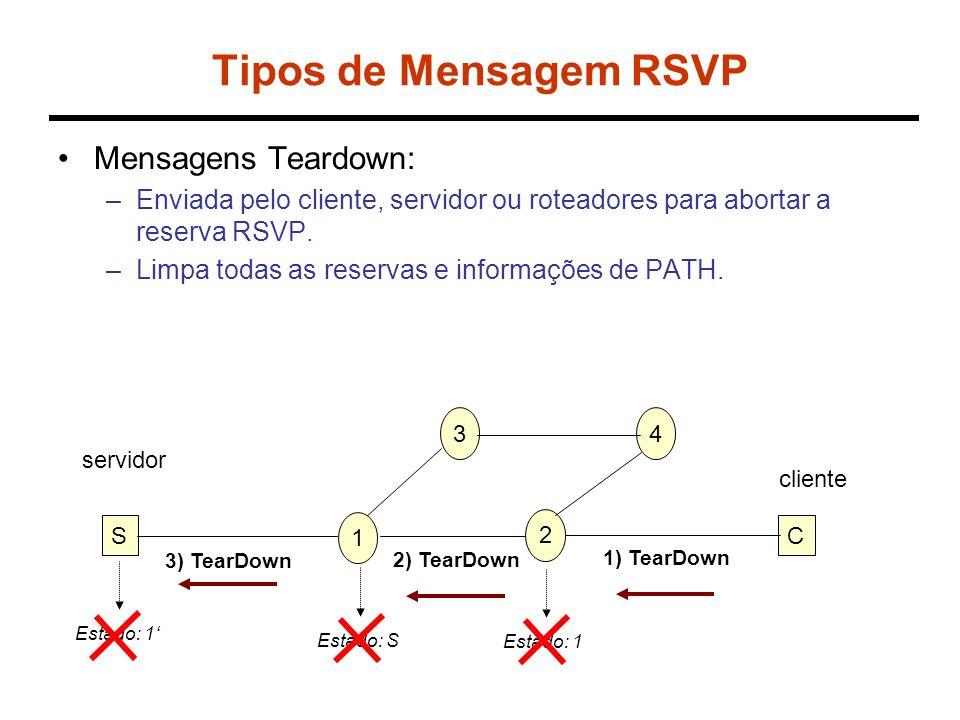 Tipos de Mensagem RSVP Mensagens Teardown: –Enviada pelo cliente, servidor ou roteadores para abortar a reserva RSVP. –Limpa todas as reservas e infor