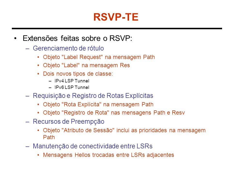 RSVP-TE Extensões feitas sobre o RSVP: –Gerenciamento de rótulo Objeto Label Request na mensagem Path Objeto Label na mensagem Res Dois novos tipos de classe: –IPv4 LSP Tunnel –IPv6 LSP Tunnel –Requisição e Registro de Rotas Explícitas Objeto Rota Explícita na mensagem Path Objeto Registro de Rota nas mensagens Path e Resv –Recursos de Preempção Objeto Atributo de Sessão inclui as prioridades na mensagem Path –Manutenção de conectividade entre LSRs Mensagens Hellos trocadas entre LSRs adjacentes